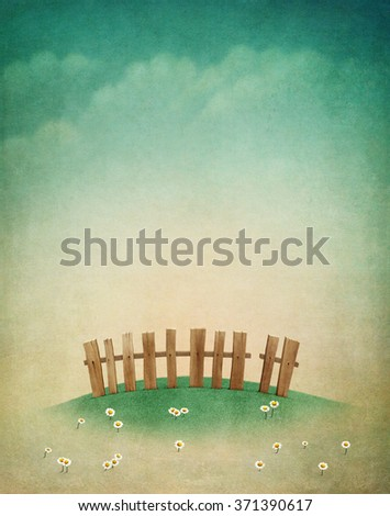 Spring pastel background with  green lawn and  fence for greeting card - stock photo