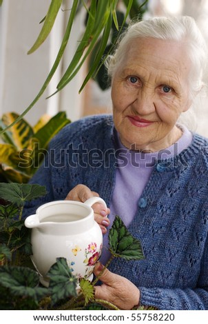 Spring portrait of elderly woman watering her flowers - stock photo