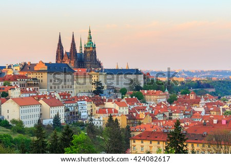 Spring Prague panorama from Prague Hill with Prague Castle, Vltava river and historical architecture. Concept of Europe travel, sightseeing and tourism. - stock photo