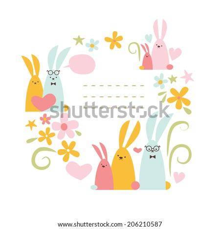 Spring rabbits Raster version - stock photo