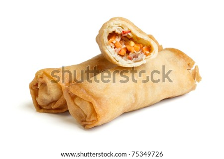 Spring Roll also known as  Egg Roll isolated on white. - stock photo