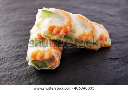 spring rolls with shrimps / vietnamese food - stock photo