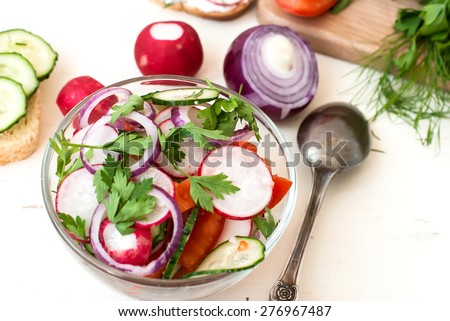 Spring Salad with radishes, cucumber, Chinese cabbage and red onion closeup in glass bowl on a white wooden background - stock photo