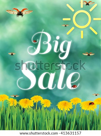 Spring sale background - stock photo