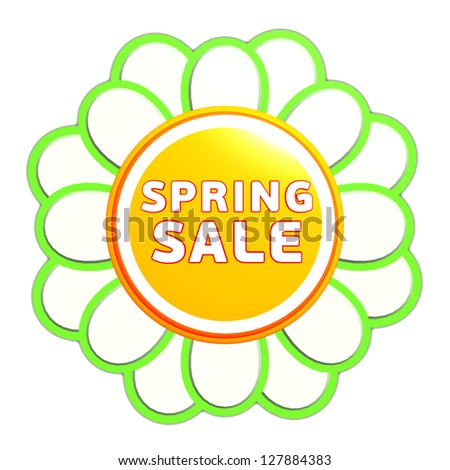 spring sale banner - 3d green orange flower label with white text, business concept - stock photo