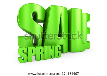 Spring sale 3d text isolated over white background - stock photo