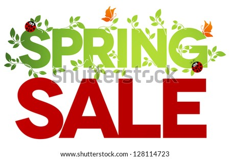 Spring sale design. Beautiful colorful illustration, green leaves, ladybugs and butterflies. Bold and bright. - stock photo