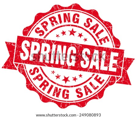 spring sale red grunge seal isolated on white - stock photo