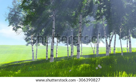 Spring scene. Sunny day on the edge of the birch grove. Realistic 3D illustration was done from my own 3D rendering file. - stock photo