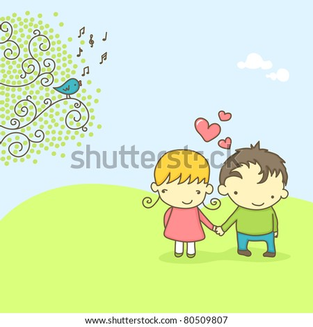 Spring scene with cute couple in love and bird singing. Vector version also available in my portfolio. - stock photo