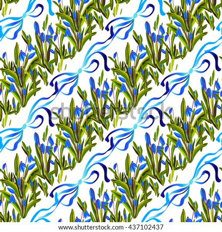 Spring seamless pattern. Bluebell flowers. Seamless striped floral pattern with blue snowdrop flowers and ribbons with bow on white background. Spring girl baby design background. illustration - stock photo