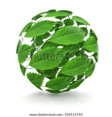 Spring. Sphere from green leaf on white background. 3d - stock photo