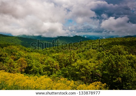 Spring storm clouds over the Appalachian Mountains and Piedmont, seen from Skyline Drive in Shenandoah National Park, Virginia - stock photo