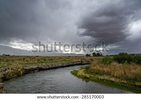 spring storm over the owens river valley and the Sierra Nevada Mountains - stock photo
