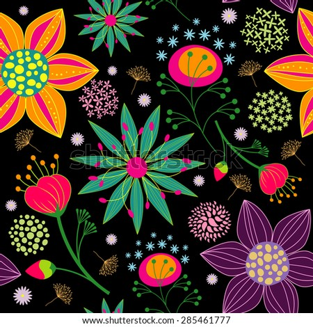 Spring Summer Colorful Flower Seamless Pattern Background - stock photo