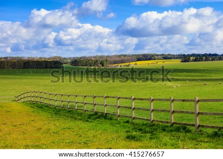Spring sunny landscape of historic Stonehenge in England. Beautiful panorama.  - stock photo