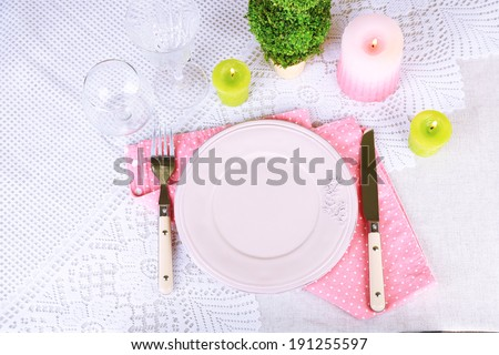 Spring table setting.  - stock photo