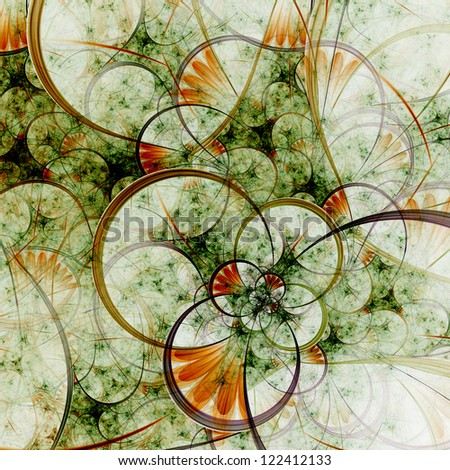 Spring themed abstract floral pattern, digital fractal art - stock photo