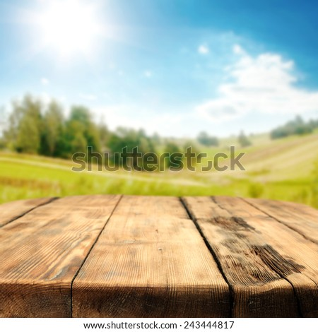 spring time  landscape of spring and sky and desk  - stock photo