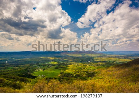 Spring view of the Shenandoah Valley from Skyline Drive in Shenandoah National Park, Virginia. - stock photo