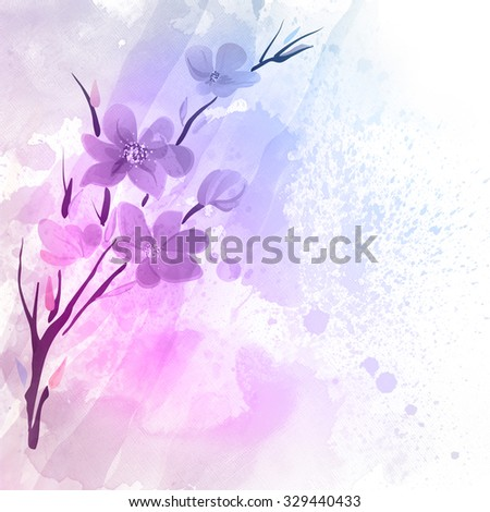 Spring watercolor flowers. Graphic art design elements for website or brochure headers or sidebars. Colorful watercolor illustration. - stock photo