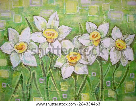 Spring white daffodils on a beautiful acrylic painting background. Daffodils spring flowers or narcissus. Canvas. Interior decor. Still-life painting. - stock photo