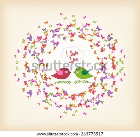 spring with butterflies and couple bird the wreath - stock photo