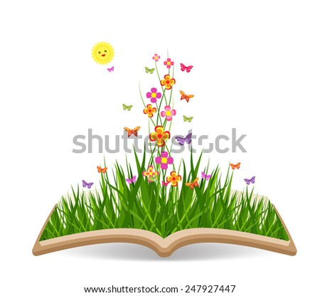 Spring with grass and butterflies colorful in the book - stock photo