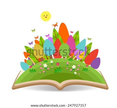Spring with grass garden in the book - stock photo
