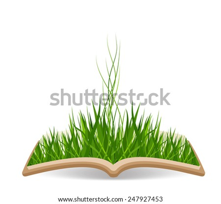 Spring with grass in the book - stock photo