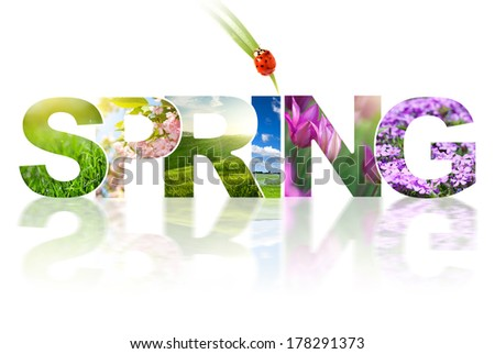 Spring word collage made of different photos isolated on white - stock photo