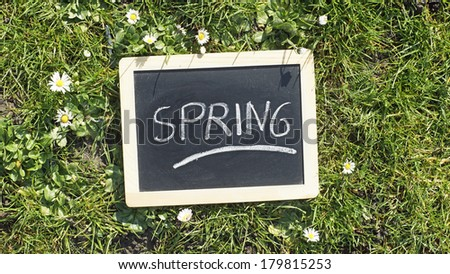 Spring written on a chalkboard in a park - stock photo