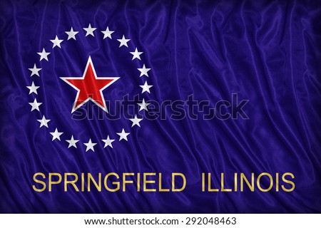 Springfield ,Illinois flag pattern on the fabric texture ,vintage style - stock photo