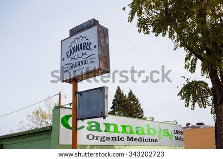 SPRINGFIELD, OR - NOVEMBER 12, 2015: Cannabis LLC Organic Medicine is a new medical marijuana dispensary in Springfield Oregon. - stock photo