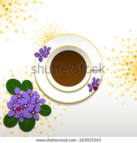 Springtime African Violet and Cup of Coffee Background - stock photo