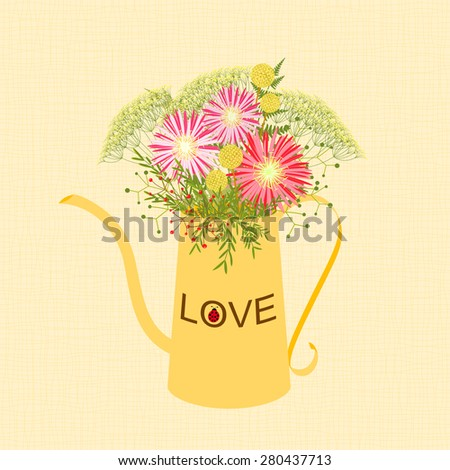 Springtime Colorful Flower in Watering Can Garden Party Background - stock photo