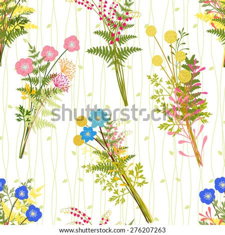Springtime Colorful Flower with Wild Grass Pattern Background - stock photo