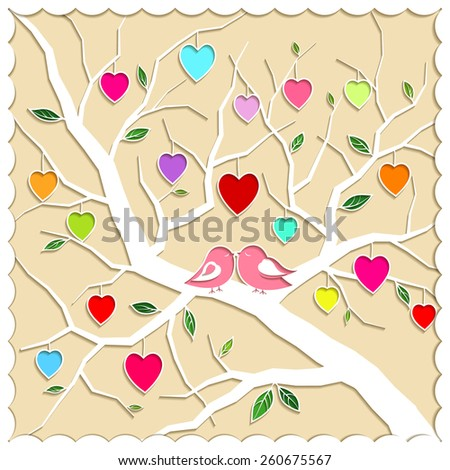 Springtime Love Tree and Birds Illustration - stock photo