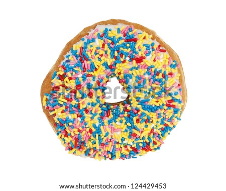 Sprinkled Donut. A sprinkled donut shot from above and isolated on a white background. - stock photo