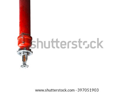Sprinkler and smoke detector on white Background, fire sprinkler on the ceiling, isolated - stock photo