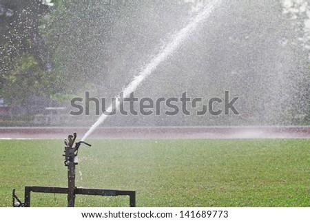 Sprinkler spraying water over lawn - stock photo