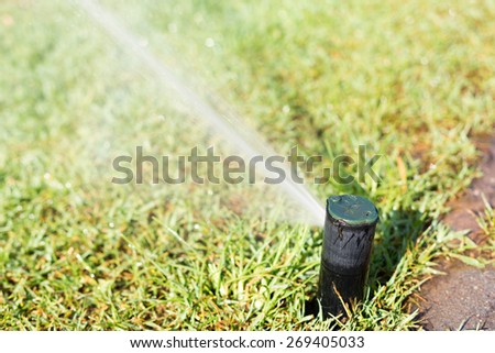 Sprinkler working on a green grass lawn - stock photo