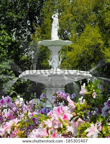 sprint at forsyth fountain savannah georgia - stock photo