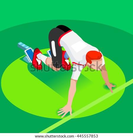 Sprinter Runner Athlete at Starting Line Athletics Race Start Summer Games Icon Set. Flat Isometric Sport Athletics White Man Runner Athlete at Starting Blocks.Olympics Sport Infographic Image. - stock photo