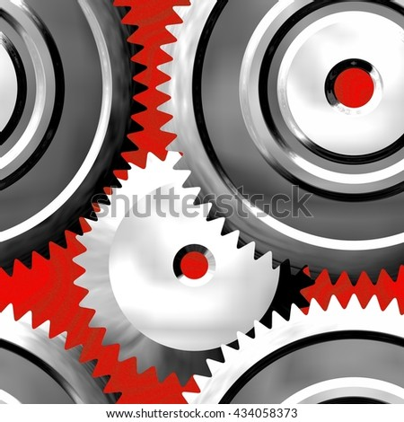Sprockets on red background - abstract illustration - stock photo