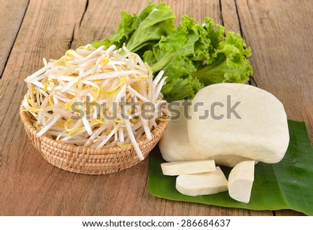 sprout and tofu vegetarian food - stock photo