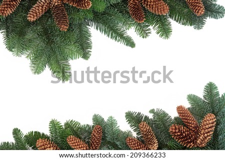 Spruce fir and pine cone background border over white with copy space. - stock photo