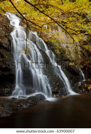 Spruce Flat Falls, the great smoky mountains national park. Fall colors - stock photo