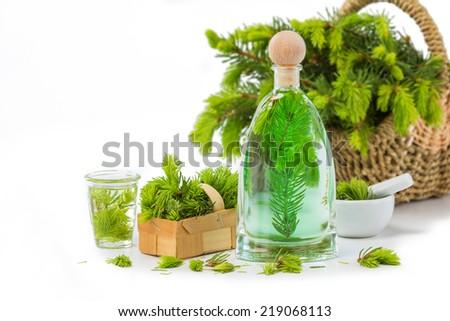 Spruce needle bad, Medicinal plants - stock photo