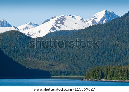 Spruce Tree mountains and snow capped mountains in Alaska - stock photo